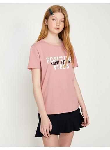 Koton Yazı Baskılı Tişört Pembe